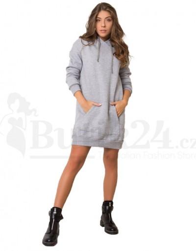 Dámské mikinové šaty v šedé barvě. Móda Blansko.
