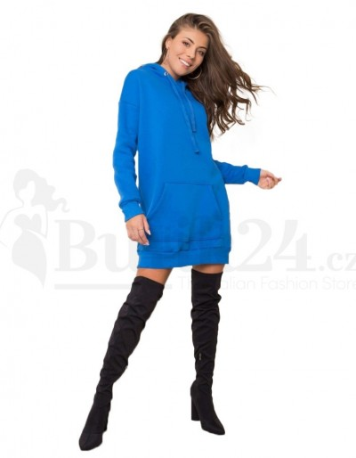 Dámské mikinové šaty s kapucí petrolejová barva