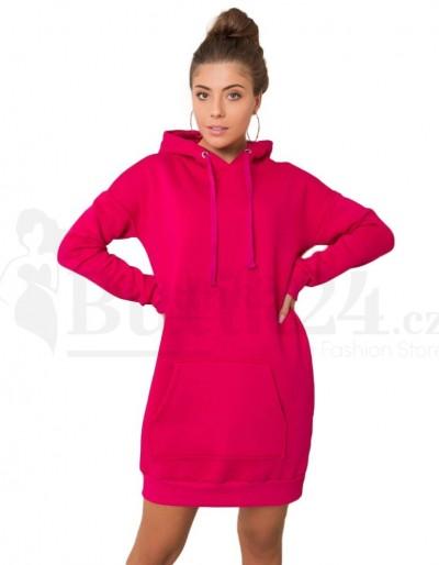 Dámské mikinové šaty s kapucí fuchsiová barva