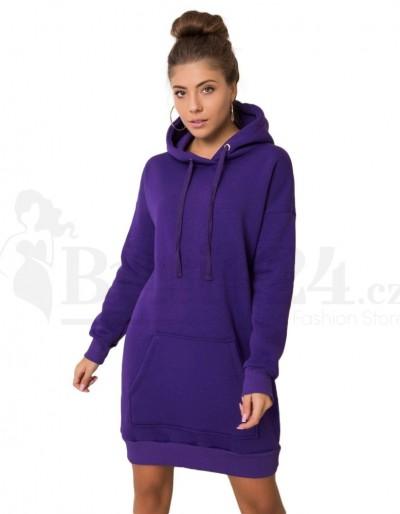 Dámské mikinové šaty s kapucí fialová  barva