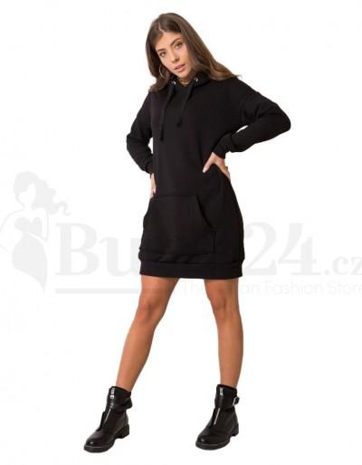 Mikinové šaty s kapucí Blansko černé
