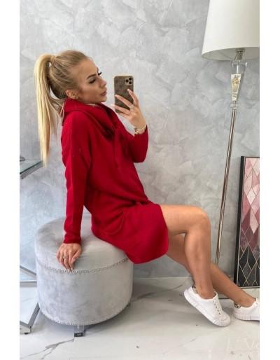 Dámská delší svetr s kapucí červený