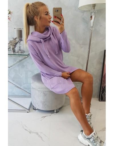 Dámský delší svetr s kapucí ve fialové barvě Butik24 Blansko