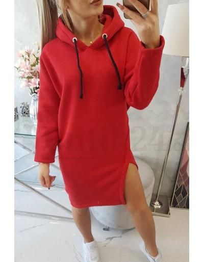 Dámské mikinové šaty s kapucí Jess červené