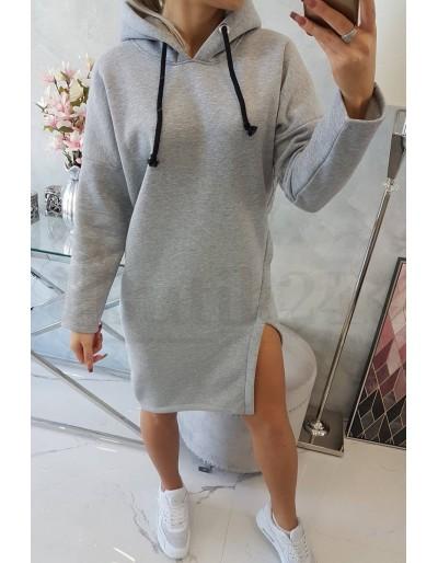 Dámské mikinové šaty s kapucí v šedé barvě