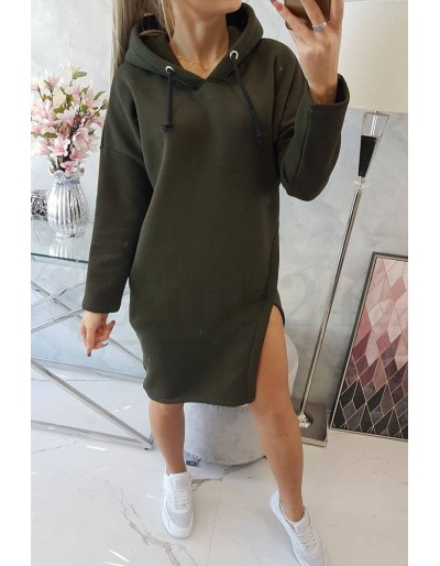 Dámské mikinové šaty s kapucí v khaki barvě