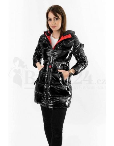 Dámská zimní bunda černá lesklá