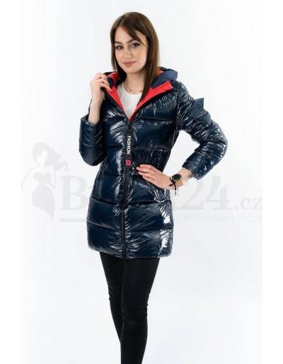 Dámská zimní tm. modrá bunda s červenou podšívkou
