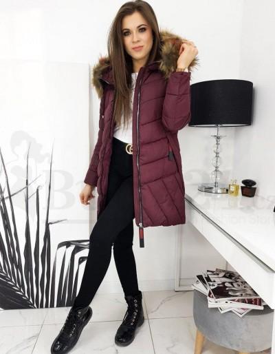 Dámská prošívaná bunda / kabát MIRA vínová TY1635