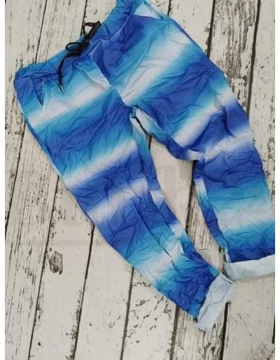 Dámské modré batikované duhové kalhoty