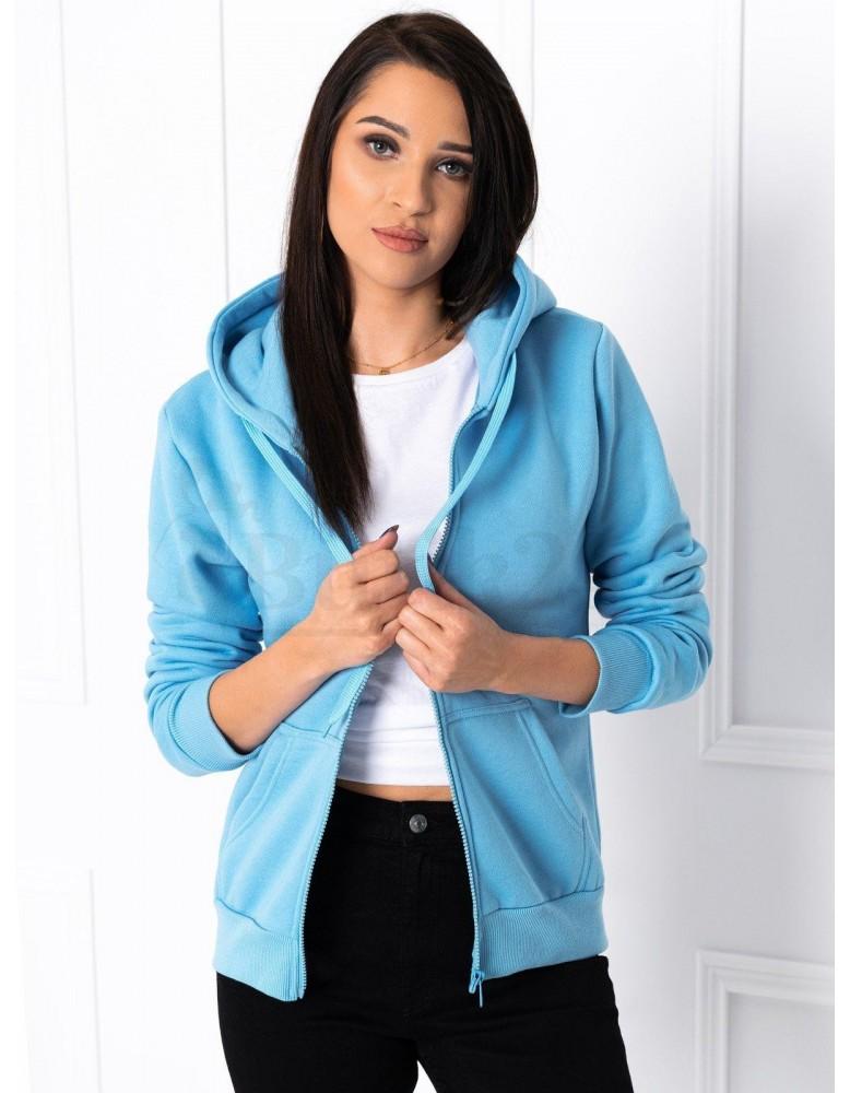 Dámská mikina s kapucí  na zip Abigail - světle modrá