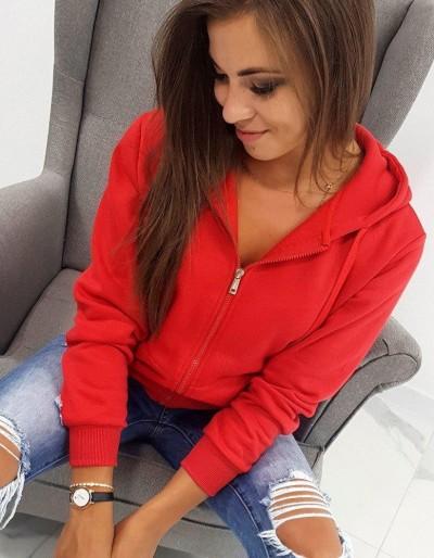 Červená dámská mikina na zip BY0226