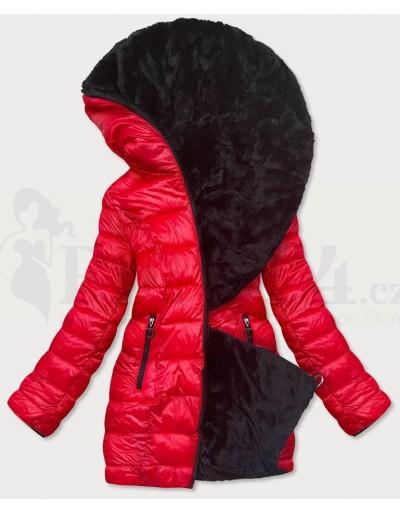 Dámská zimní oboustranná bunda červená