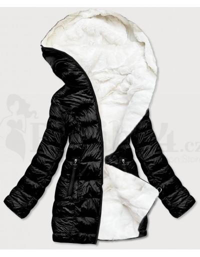 Dámská zimní oboustranná bunda černo bílá