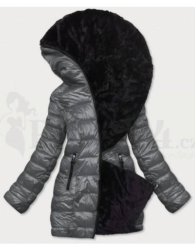 Dámská zimní oboustranná bunda šedá