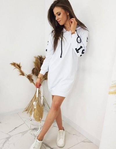 OVER LONG bílá dámská mikina BY0404
