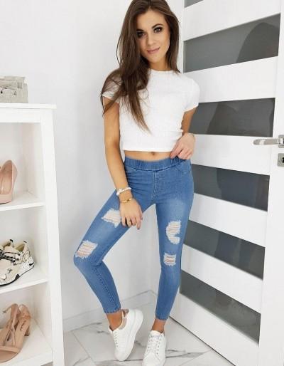 Světle modré dámské treggings kalhoty BIZEE UY0450
