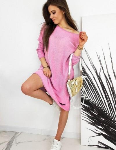 Dámský nadměrný svetr NICOLA růžový MY0779