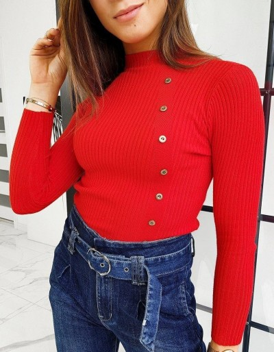 Dámský svetr s vysokým krkem BALANI červený MY0792