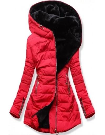 Dámská  bunda na zimu s kožíškem červená