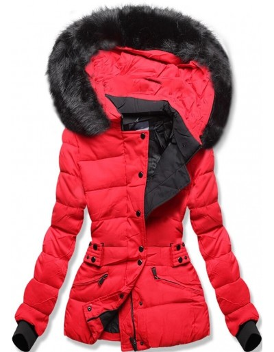 Dámská krátká zimní bunda s kapucí červená