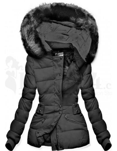 Dámská černá zimní bunda s kapucí krátká Blansko