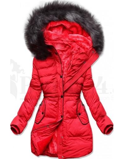 Dámská zimní bunda s kožíškem červená