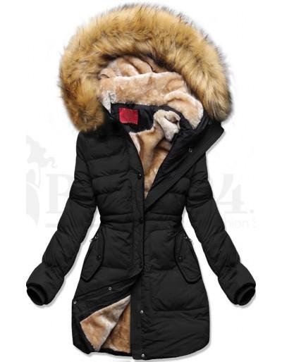 Dámská zimní bunda s kožíškem černá