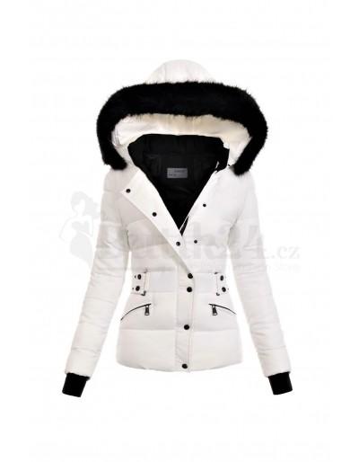 Dámská zimní bunda bílá s kapucí a kožíškem