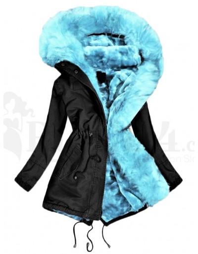 Dámská zimní parka černá barva s tyrkysovým kožíškem