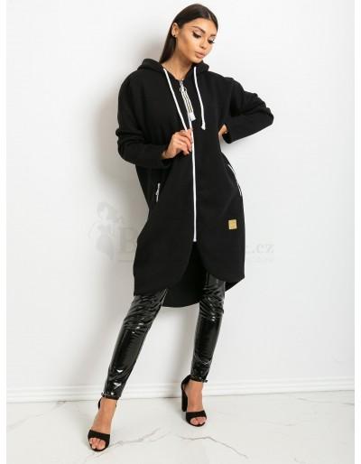 Dámská dlouhá mikina černá s kapucí