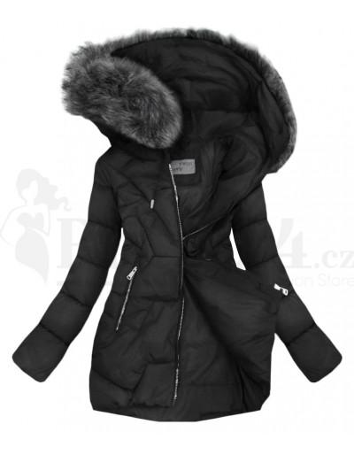 Dámská zimní černá bunda s kapucí