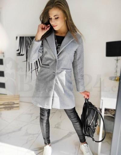 Jednořadý dámský kabát DRESNO šedý NY0382